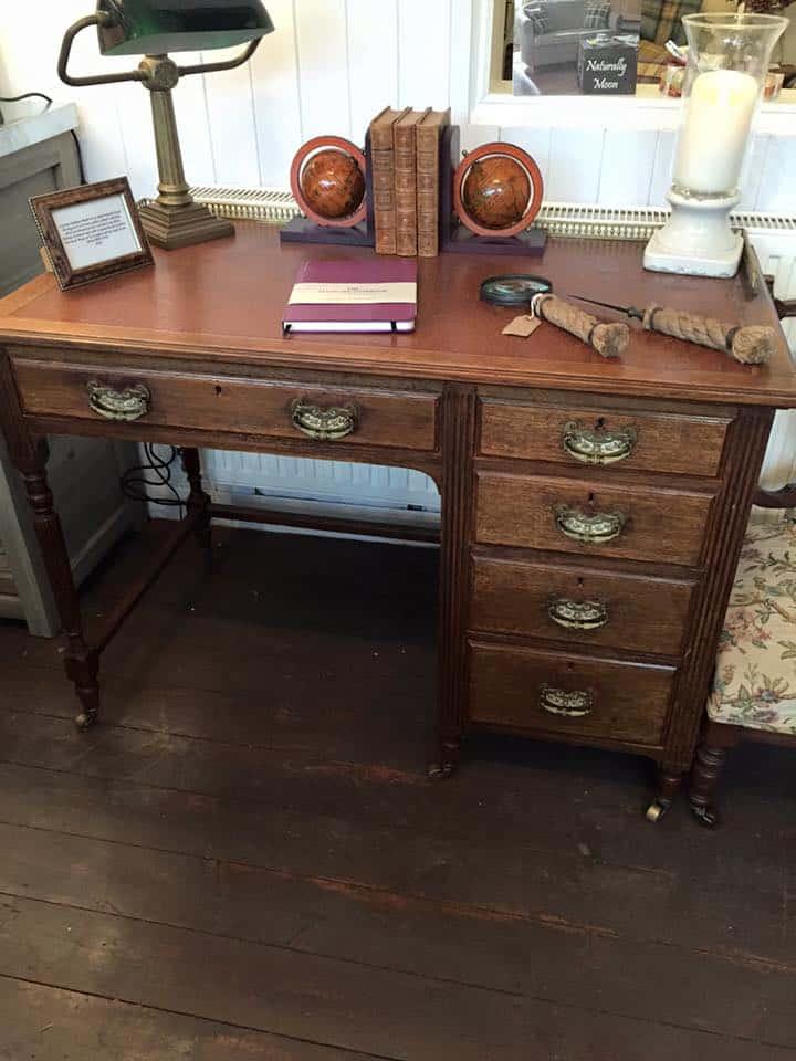 Antique Oak Desk - Antique Maple & Co. Oak Pedestal Desk - Tinker And Toad