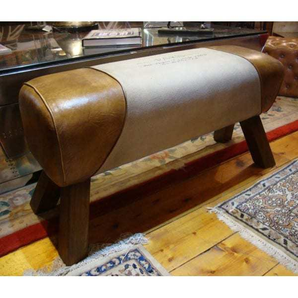 genuine-leather-canvas-bench-pommel-horse-style-paris-print-length-88cm Dining Room
