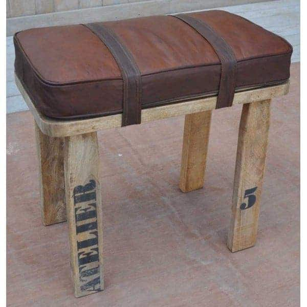 wooden-stool-bench-with-leather-cushioned-seat-length-54cm Hallway