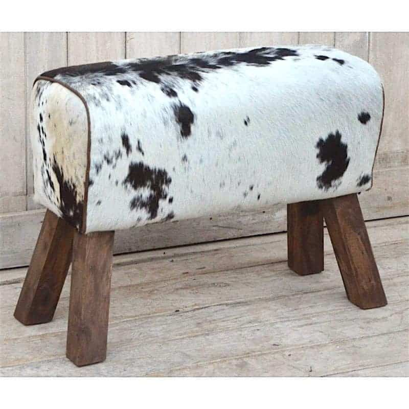cowhide-hair-on-pommel-horse-style-leather-bench-stool-2 Bedroom