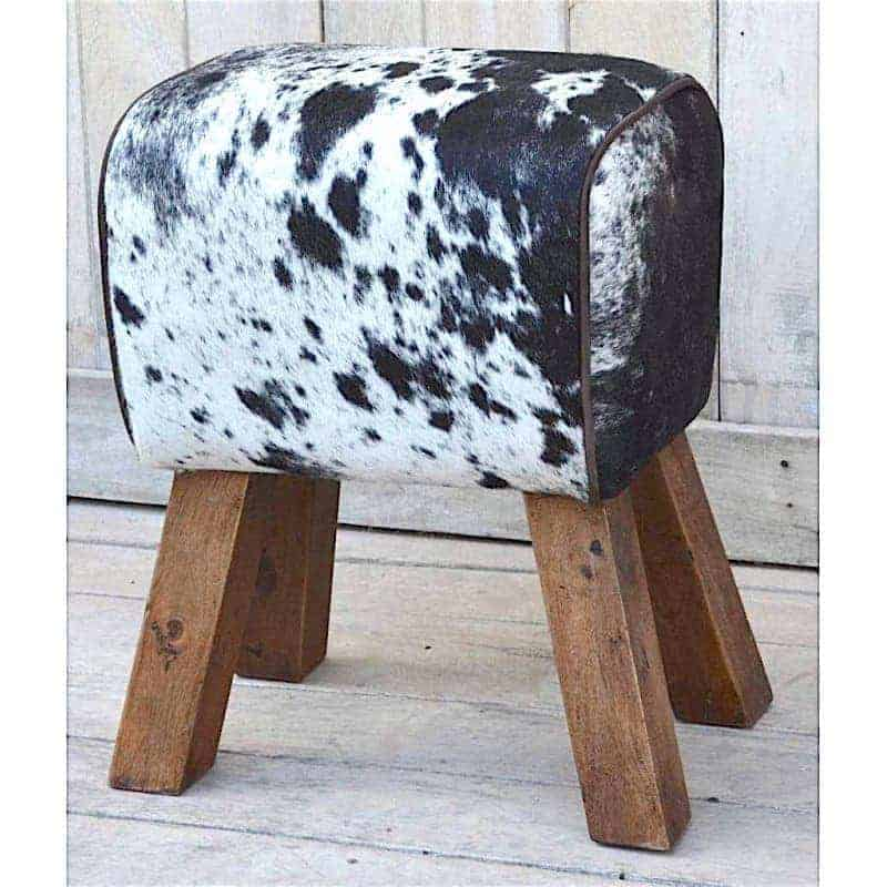 cowhide-hair-on-pommel-horse-style-leather-footstool-sidestool Bedroom