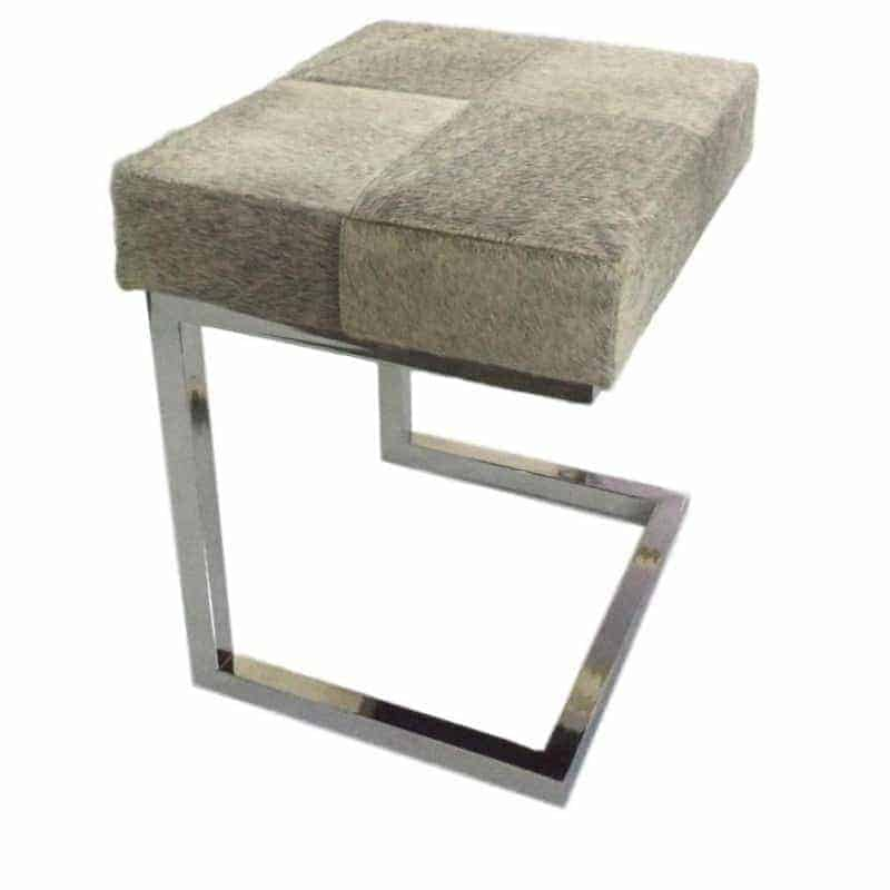 grey-cowhide-stainless-steel-stool Dining Room