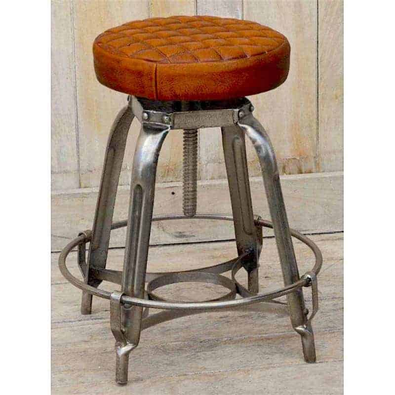 industrial-style-stool-with-quilted-leather-seat Lounge