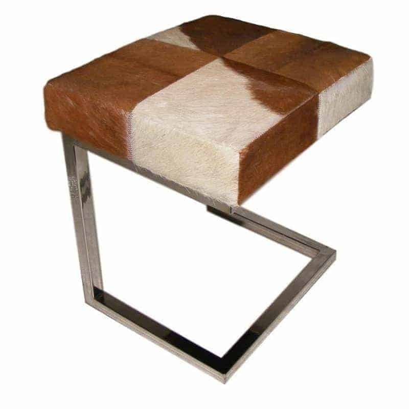 tan-white-cowhide-stainless-steel-stool Dining Room
