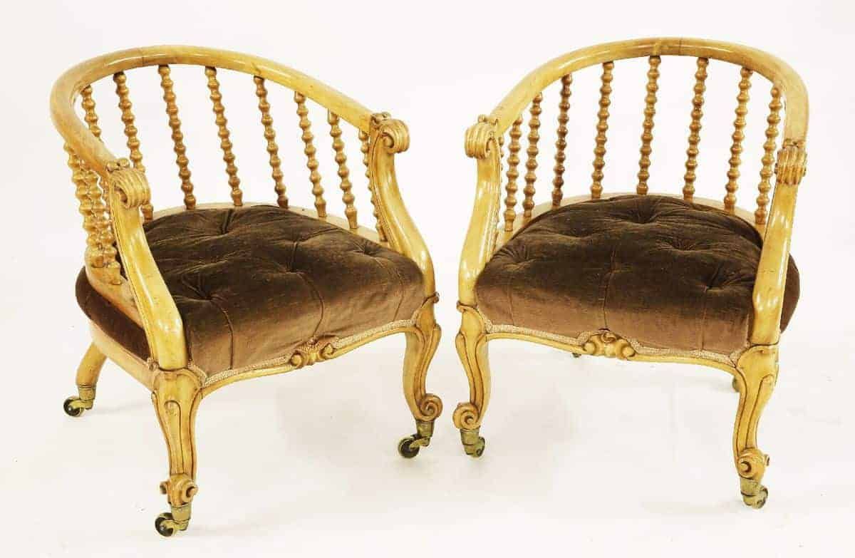 A Pair of Victorian Satinwood Tub Chairs - Tinker and Toad