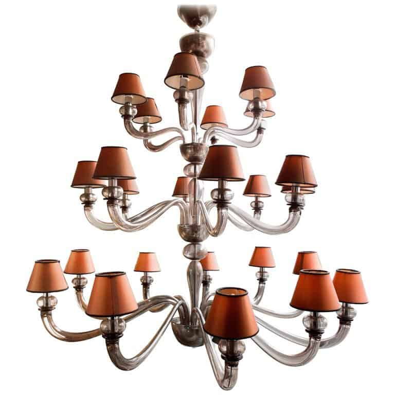 Classic Murano Chandeliers For Luxury Hotel In Florence: Large Vintage Twenty-Four-Light Murano Glass Chandelier
