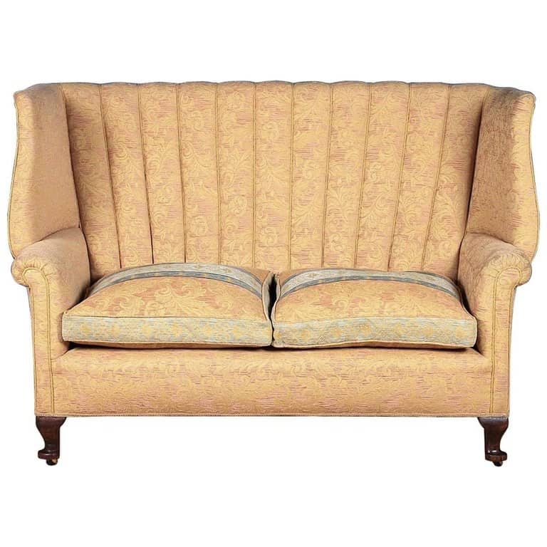 A Queen Anne Style Wingback Settee