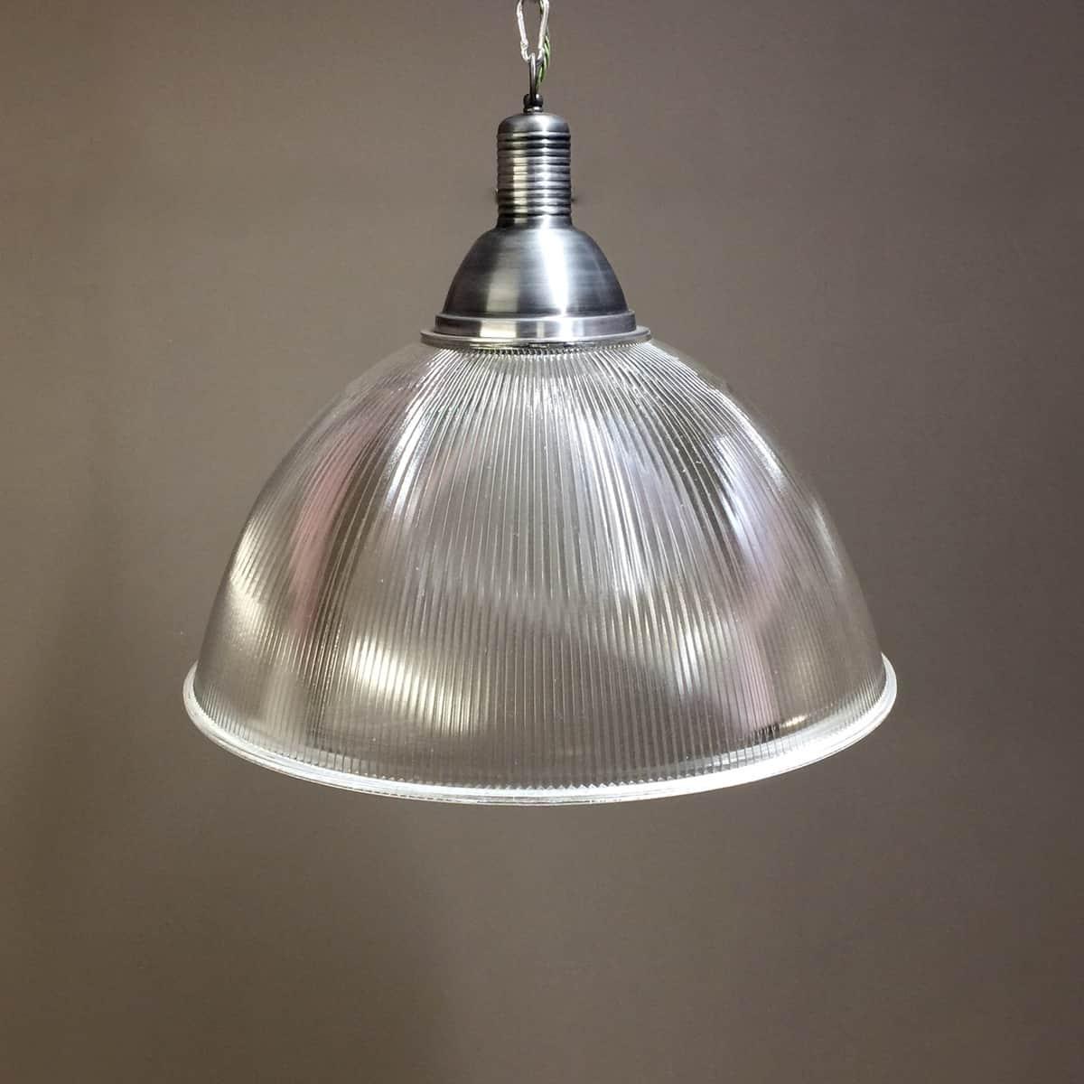 Large Vintage Industrial Prismatic Holophane Pendant Light